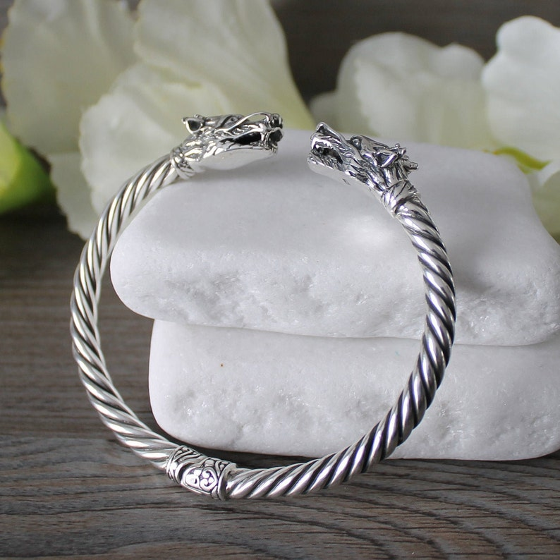 Hinged Cuff Bangle Order of the Dragon GOT Serpent Cuff Bracelet Sterling Silver Dragon Bracelet SOLID Sterling Silver Dragon Cuff
