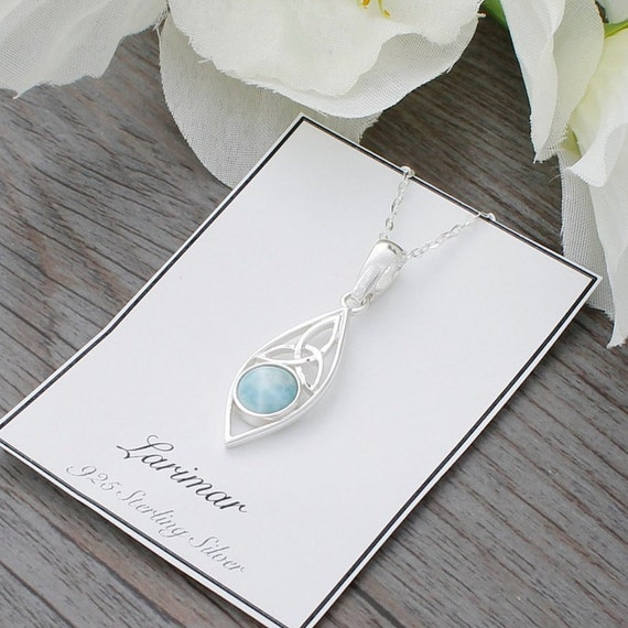 Sterling Silver Celtic Triquetra Knot Pendant Rainbow Moonstone Trinity Knotwork