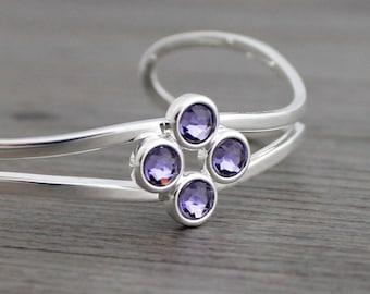 Tanzanite Adjustable Silver Bangle Bracelet; Purple Tanzanite Swarovski Crystal Bracelet; December Birthstone