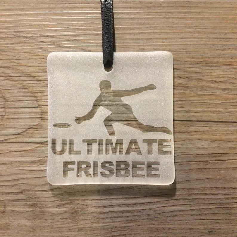 51acf672857b8 Ultimate Frisbee Fused Glass Ornament / Sun Catcher; Personalized; Custom