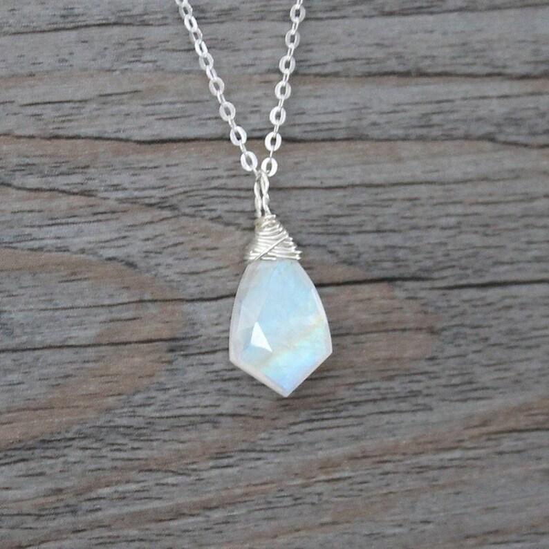 Rainbow Moonstone Necklace; Shield Arrow Rainbow Moonstone; Sterling Silver Wire Wrapped; Labradorite; VIVID flash BOHO