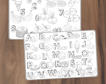 Kids Coloring Food Alphabet Placemat - Color Your Own Double Sided Placemat with Food Alphabet on the Front and Food Counting on the Back