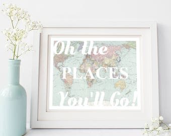 Oh the Places You'll Go, Map Nursery Wall Art -  World Map Print for Gender Neutral Nursery, Map Nursery Decor, Travel Nursery Decor