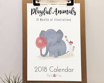 2018 Wall Calendar - Monthly Calendar Featuring my Original Art Prints, this Animal Calendar Makes a Perfect Christmas Gift or Gift for Her