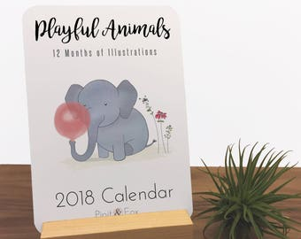 2018 Desk Calendar - Monthly Calendar Featuring my Original Art Prints, this Animal Calendar Makes is Great Christmas Gift or Desk Accessory