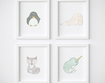 Arctic Fox Nursery Wall Art- Set of 4 Prints - Winter Animals Including Woodland Fox, Baby Penguin, Polar Bear and Narwhal Gift