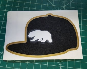 California grizzly black cap decal