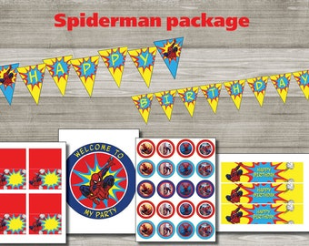 Instand DL - Spiderman Birthday package Printable- Printable (NON Personalized)