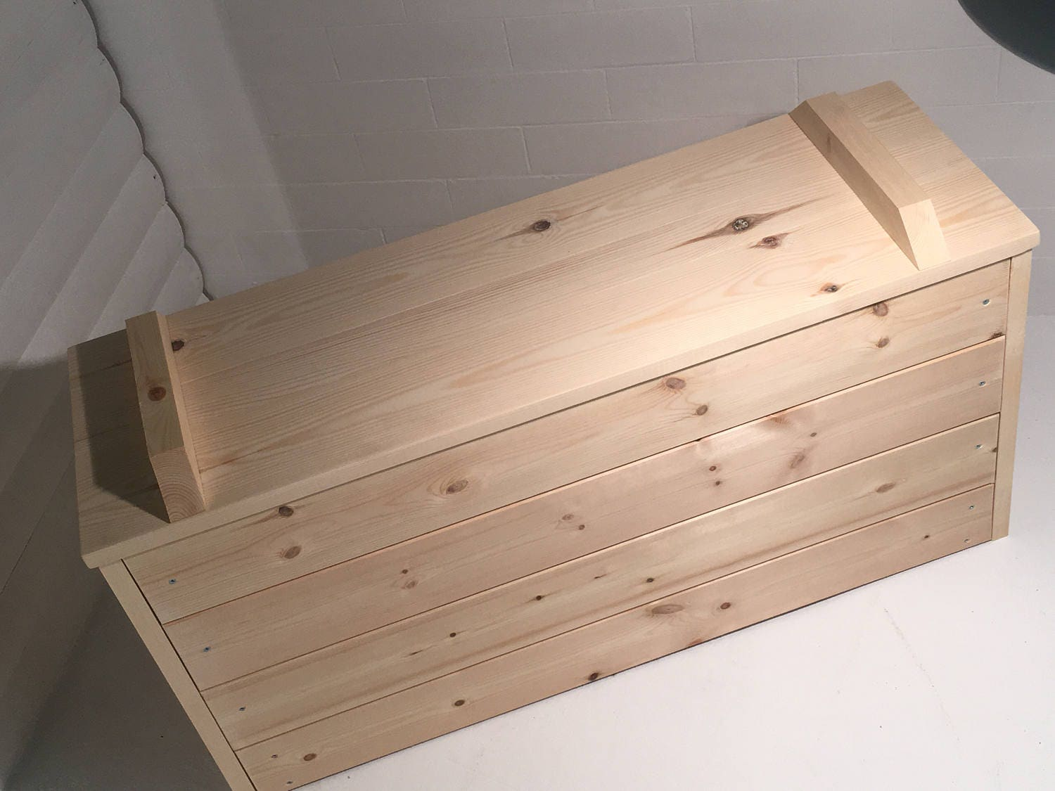 Hand Made Solid Pine Toy Chest Ottoman Blanket Box Wooden Trunk Farmhouse With A Flat Lid Optional Sizes And Colours