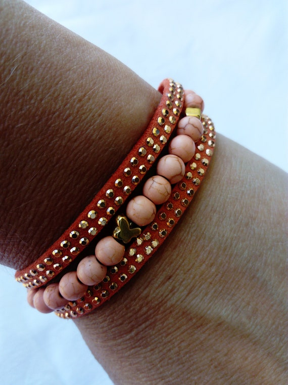 Layering coral pink suede boho beach bracelet with  small gold butterfly charm and beads for women Statement stacking bracelet Unique gift