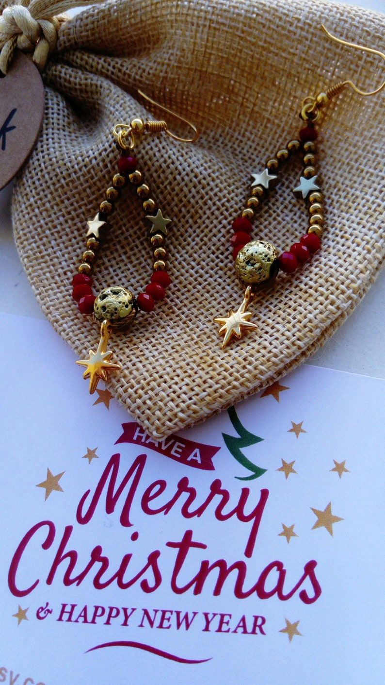 Christmas Jewelry Star of Bethlehem Dangle earrings Long earrings Beaded Bracelet Gemstone Bracelet Statement Jewelry Christmas Gift For Her