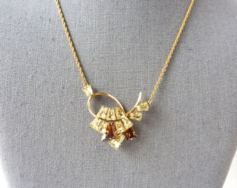 Rhinestone Pendant Necklace | Gold with Brown and Yellow Crystal and Looped Retro Design | Vintage 1950s Mid Century Jewelry