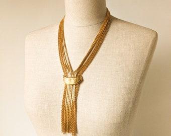 Gold Mid Century Statement Necklace