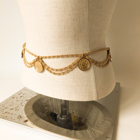 Vintage Egyptian Revival Gold Belt | Adjustable Go