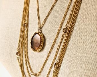 Mid Century Gold Statement Necklace