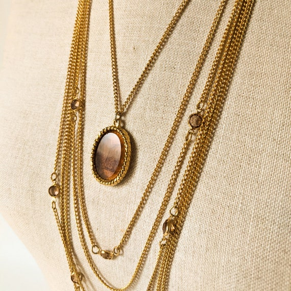 Mid Century Gold Statement Necklace