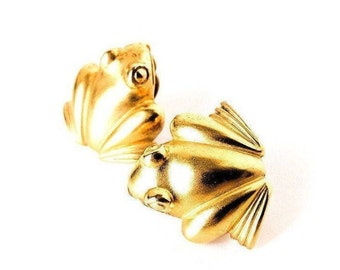 Gold Frog Statement Clip Earrings