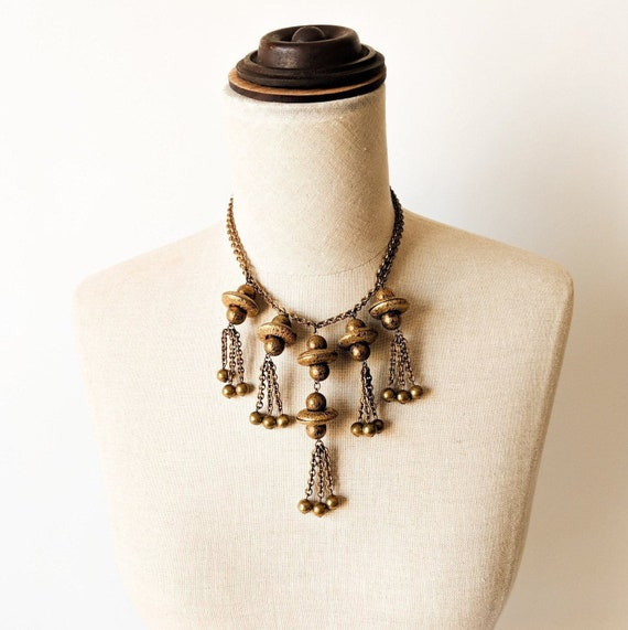 Mid Century Brass Necklace