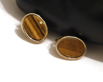 TIGER EYE CLIP On Earrings Vintage Whiting and Davis Classic, Beautiful Versatile Christmas Gift, Stocking Stuffer Signed! 2110