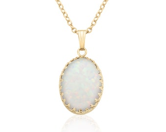 Anniversary Gift Mother/'s Day Gift Oval Opal Pendant Graduation Gift Opal Pendant set in 14K Gold