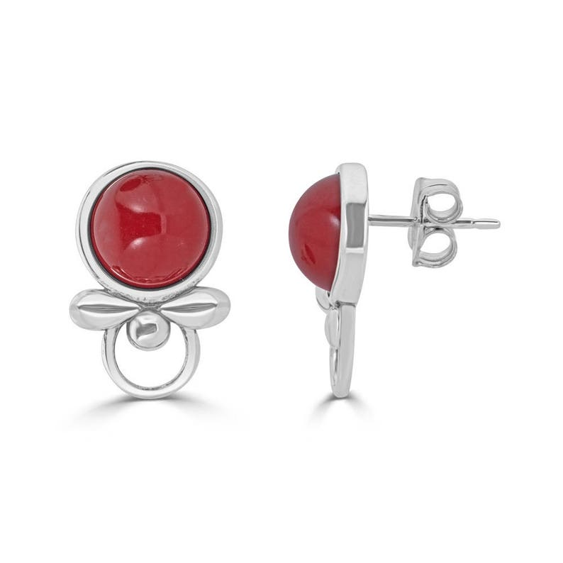Mother of the Bride Gift July Birthstone Earrings Ruby Earrings Silver Stud Earrings July Birthday Gift for Women 40th Anniversary Gift