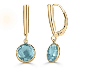 Blue Topaz Earrings Gold, Blue Topaz Jewelry, December Birthstone Earrings, Mothers Day Gift, Mother of the Bride Gift Ideas, Sada Jewels