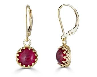 Ruby Earrings. Gold Earrings, Lab Created Ruby, July Birthstone Earrings, Ruby Jewelry, July Birthday Gift, 40th Anniversary Gift, Sada