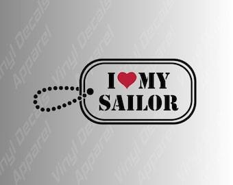 "I Love My Sailor Iron On Patch 3/"" x 2/"" Free Ship Navy Veteran Military P5231"