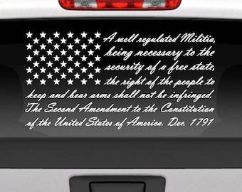 Second Amendment American Flag Decal / 2nd Amendment American Flag Vinyl Decal Sticker for Cars & Trucks