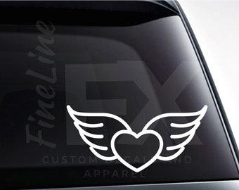 Heart With Angel Wings Vinyl Decal Sticker / Decal For Cars, Laptops, Tumblers And More