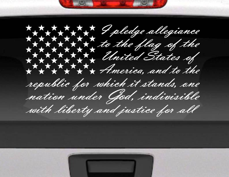 b74e337a59 Pledge of Allegiance American Flag vinyl window decal for car
