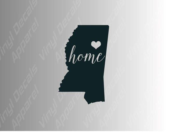 Mississippi home decal for car white vinyl