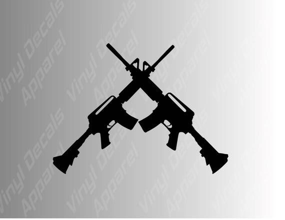 Semi Assault Rifle AR-15 Girls Shoot Too Gun Decal Vinyl Sticker Choose Colors