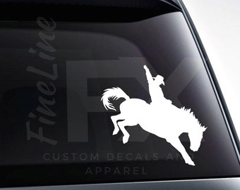 Bronco Riding Rodeo Cowboy Vinyl Decal Sticker / Decal For Cars, Laptops, Tumblers And More