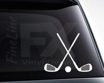 Crossed Golf Clubs and Golf Ball Vinyl Decal Sticker / Decal For Cars, Laptops, Tumblers And More