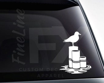 Seagull on Wooden Pier Posts Vinyl Decal Sticker / Decal For Cars, Laptops, Tumblers And More