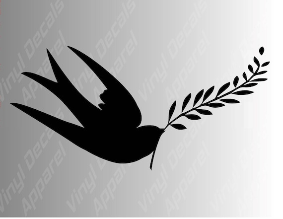 Swallow Bird Peace Symbol Die Cut Vinyl Decal Sticker For Car Etsy