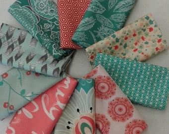 Coral Colorado Beauty Fat Quarter Bundle of 10 different fabrics