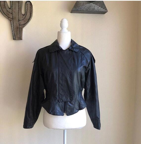 Vintage 1980s leather motorcycle jacket