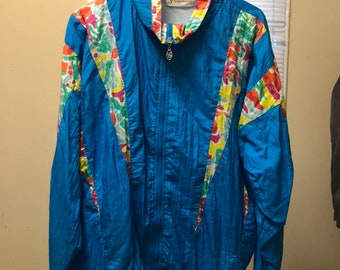 FREE SHIPPING // XL Blue and Neon Windbreaker