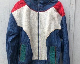 FREE HOLIDAY SHIPPING // Large Funky Red and Blue Windbreaker