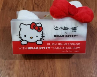 New Hello Kitty ears by Sanrio the creme shop spa headband red signature bow cruelty free,vegan bath makeup wash face gift decor collectable