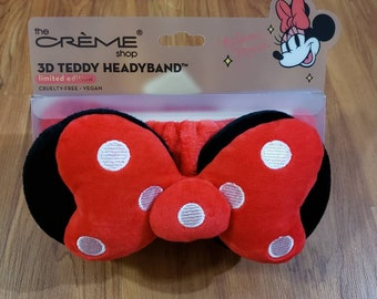 New Minnie mouse ears by the creme shop spa headband red poka dot signature bow cruelty free,vegan bath makeup wash face gift decor limited