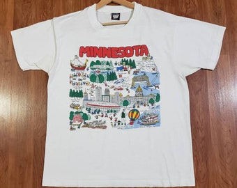 Vintage Barb McClain 1989 Minnesota state Minneapolis single stitch made in USA Screen Stars Best big spellout logo double sided white shirt