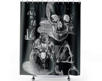 Skull Figures Black Shower Curtain