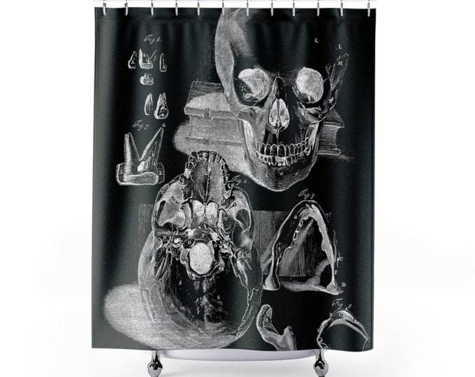 Skull Figures Black Shower Curtain