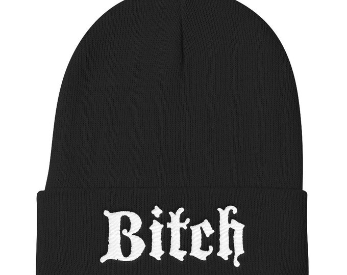 Bitch Knit Beanie, black beanie, winter hat