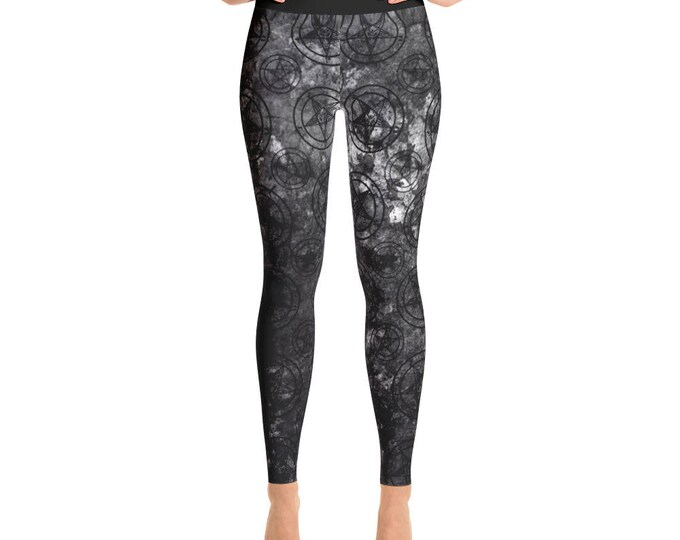 Grey Splatter Baphomet Yoga Pants