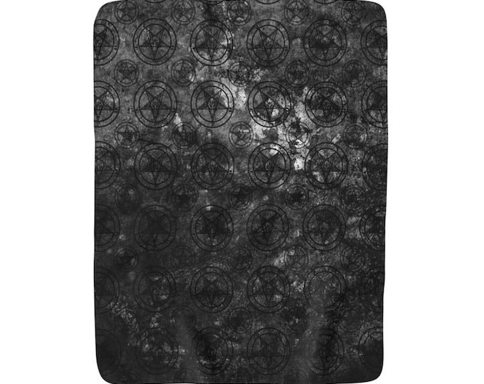 Grey Pentagram Sherpa Fleece Blanket