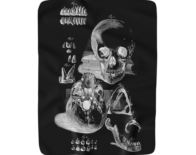 Skull Figures Sherpa Fleece Blanket